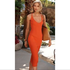 Michael Kors Orange Ribbed Sweater Midi Dress NWT